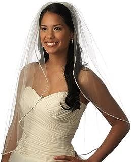 One Tier Elbow Length Bling Rhinestone Lined Edge Short Wedding Bridal Veil 11