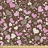 Lunarable Hearts Fabric by The Yard, Surrealism Inspired Valentines Day Illustration Dotted Lines Swirls and Hearts, Decorative Fabric for Upholstery and Home Accents, 3 Yards, Brown Cream
