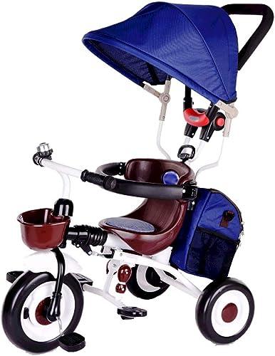 Triciclo Ride-on 4 en 1 para Niños con toldo Solar, Almacenamiento en la Parte Posterior y asa extraíble para los Padres,