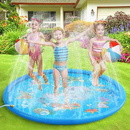 ENJSD Splash Pad für Kinder, 68-Zoll-Sprinkle- und Splash-Spielmatte, Baby-Splash-Pad, Sommerspielzeug-Spielmatte im Freien, Sprinklerbecken für Kinder zum Lernen