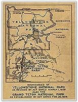 2個 イエローストーン国立公園の大きな地図 メタル サイン 興味のある場所 ミラクル ツーリズム リビング ルーム ショッピング センター レストラン ドア ウォール 12x8インチ ハッピー