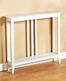 Slim Entry Table - Space-Saving Accent Table with Distressed Finish - White