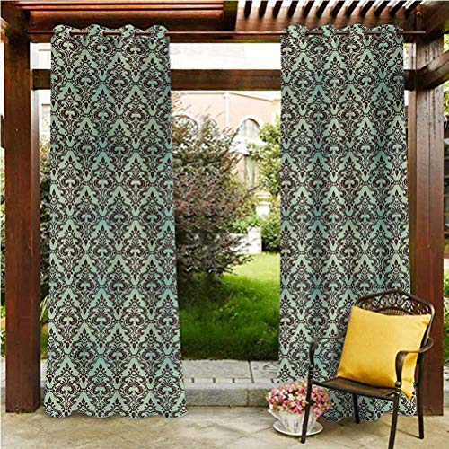 Mint and Brown Outdoor Curtains for Patio Airy Panel for Pavilion Farmhouse Cabin Baroque Flower Motifs in Damask Style Traditional Revival Art Mint Green and Dark Brown 108'W by 96'L(K274cm x G243cm)