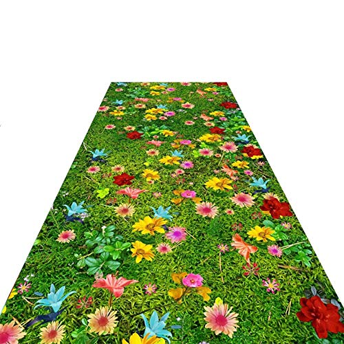 Area Rugs 3D Area Rug, Lawn Grass Pattern Hallway Rugs for Nursery Room & Living Room Decor - Easy to Clean Dining Room Door Carpets, Long Runners (Size : 100×550cm)