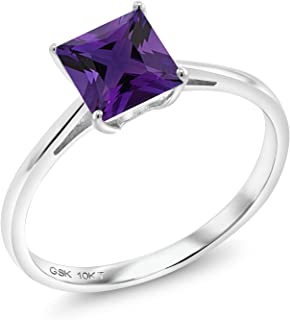 Purple Amethyst 10K White Gold Women's Engagement Ring (0.98 Ct Princess Cut Available in size 5, 6, 7, 8, 9)