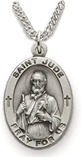 TrueFaithJewelry Sterling Silver Oval Saint Jude Patron of Hopeless Causes Medal, 7/8 Inch