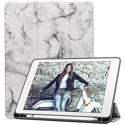 iPad 9.7 2018 Funda con Pencil Holder[Lápiz Stylus gratis], Ultra ligero Trifold Soporte Auto Sueño/Estela Carcasa para Apple Apple iPad 9.7 2018/ 2017/ Air 2/ Air/ Pro 9.7 2016, Mármol Negro/Gris