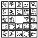 SIMUER 24 Stencil Riutilizzabili per Diario di Pittura a Forma Quadrata Strumenti per Disegnare Album di Ritagli Agenda Legno Cartoline Graffiti Progetti fai da te Artigianali – 13 x 13 cm