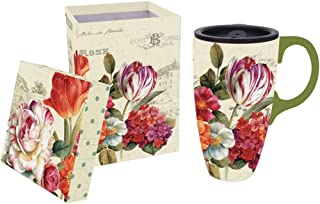 """Cypress Home Garden View Flowers 17 oz Boxed Ceramic Travel Latte Cup with Lid - 3.5""""W x 5""""D x 5""""H"""