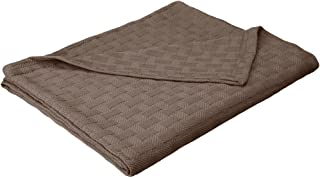 Impressions All-Season Luxurious 100-Percent Cotton Basket Weave Blanket Twin Gray BLANKET_BAS TW CL