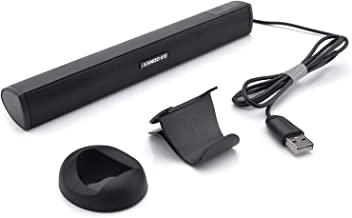 USB Powered Computer Stereo Speaker, Portable Mini Sound Bar for Windows PCs, Desktop Computer, Laptop - Black