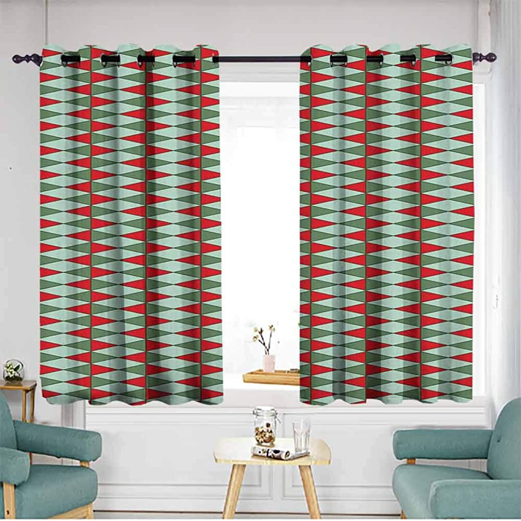 XXANS Thermal Insulating Blackout Curtains,Geometric,Grommet Curtains for Bedroom,Grommet Curtains for Bedroom, Reseda and Almond Green Red cxtzmtfarc