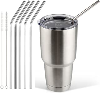 Accmor 18/8 Stainless Steel Straws, FDA-approved Durable Reusable 10.5inch Long Bend Drinking Straws Set of 5 – for 20 & 30OZ YETI RTIC OZARK TERVIS Tumbler Cups - with 2 Cleaning Brushes