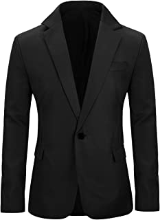 Men's Slim Fit Casual 1 Button Notched Lapel Blazer Jacket