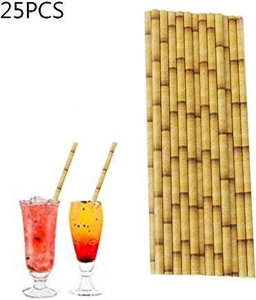 BESTONZON 150 unids biodegradable beber pajitas de papel de bamb/ú decoraciones para la fiesta de cumplea/ños de la boda Baby Shower