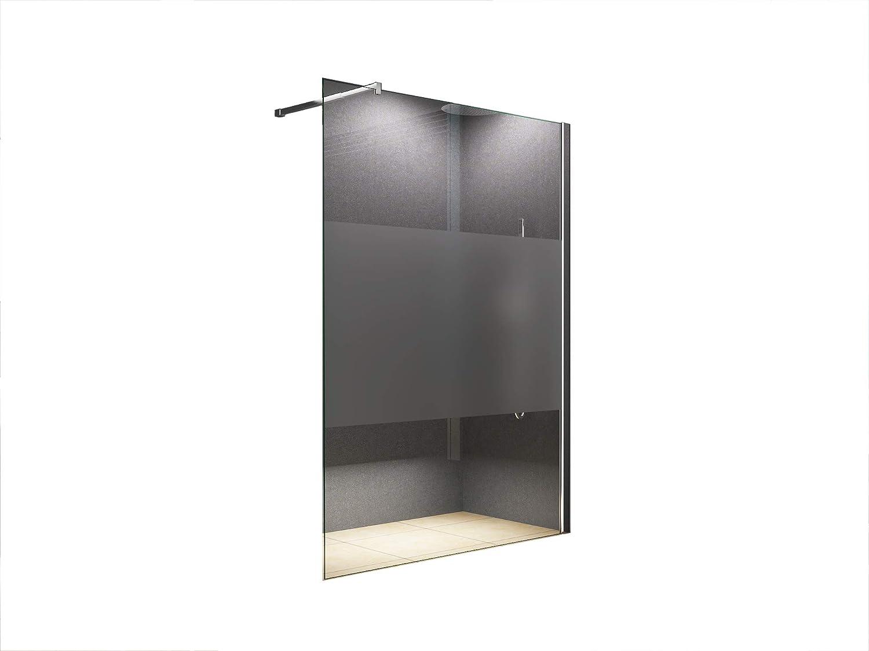 140x200 cm Duschabtrennung LILY Frost - Mitte, Milchglas, Klarglas, Duschwand, Walk-In Dusche, 10 mm ESG Sicherheitsglas