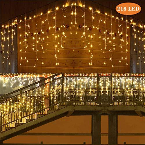 LED Lichtervorhang, 216 LED Lichterkette 5M LED Lichtervorhang Sterne, 8 Modi LED Eiszapfen Wasserdicht Lichterkette für Deko, Party, Hochzeit, EU Stecker & Endverbinder (Warm White)