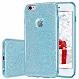 MATEPROX iPhone 6s Case iPhone 6 Case Glitter Slim Bling Crystal Clear 3 Layer Hybrid Protective Case for iPhone 6s/6 4.7 inch (Blue)