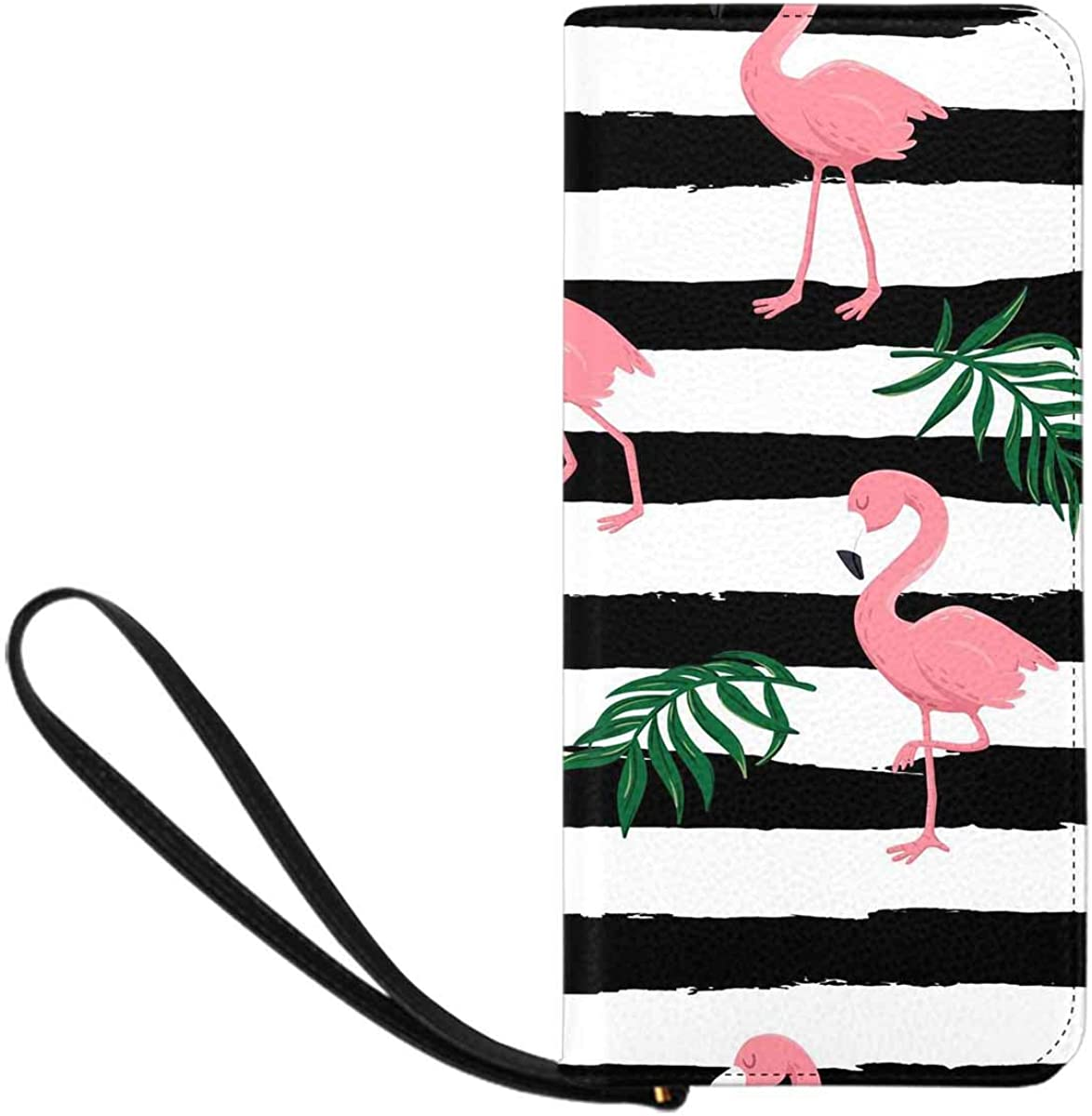 InterestPrint Women's Large Capacity RFID Blocking Wristlet Clutch Wallets Pink Flamingo Birds and Tropical Leaves