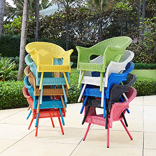 BrylaneHome Roma All-Weather Wicker Stacking Chair Stacking Chair W/Free Seat & Back Cushions, Haze