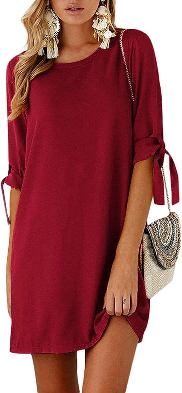 Kidsform Women Mini TShirt Dress Selftie Half Sleeves Solid Crew Neck Tunics Summer Shift Dresses