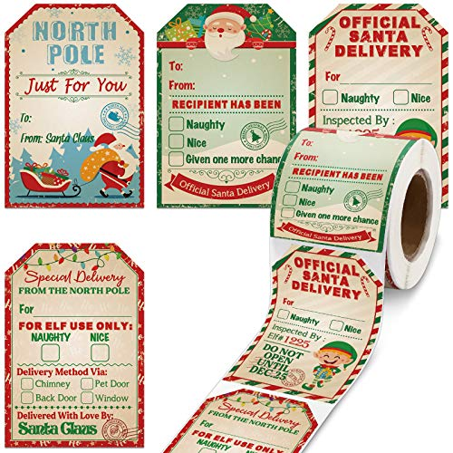 200 Pieces From Santa Claus Stickers Roll Vintage Christmas Tags Stickers Santa Delivery From The North Pole Present Stickers Labels for Kids Christmas Party Decorations, 2.3 x 3.34 Inch (Light Color)