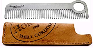 Chicago Comb Model 1 Stainless Steel + Horween Color No. 8 Shell Cordovan Sheath, Made in USA, Ultra-Smooth, Durable, Anti-Static, 5.5 in. (14 cm) Long, Medium Tines, Ultimate Daily Use Comb, Gift Set