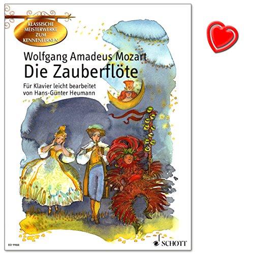 Wolfgang Amadeus Mozart - Die Zauberflöte - ein deutsches Singspiel in zwei Akten - für Klavier leicht bearbeitet von Hans-Günter Heuman - mit herzförmiger Notenklammer - ED9988-9783795753092