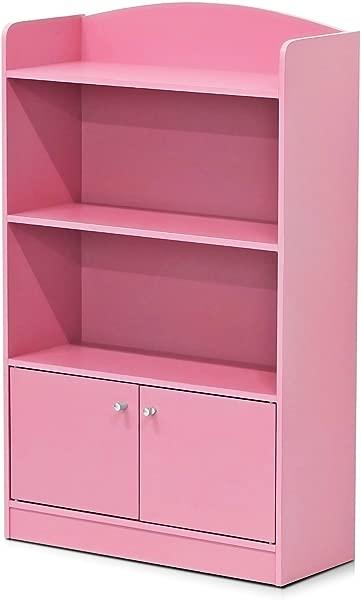 Furinno FR16121PK Stylish Kidkanac Bookshelf With Storage Cabinet Pink