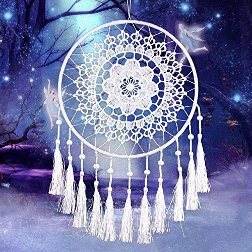 BDWS Atrapasueños Plum Flower Crochet Tassel Feather Dream Catcher Net Dream Home Hamaca Colgante de Coche Decoración Adornos # BW  White