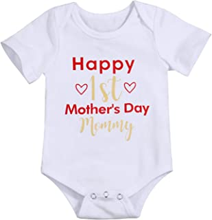 c4ea7894d Happy 1st Mother's Day Outfit Newborn Baby Boy Girl Mommy Bodysuit Short  Sleeve Onesies Romper
