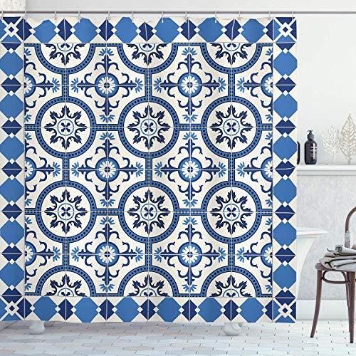 QYGA-3BU Marokkanischer Duschvorhang, orientalisch-türkisch inspirierte Mosaikmotive im klassischen Retro-Design, 60 x 72 Zoll Badezimmerdekor, grau-blau