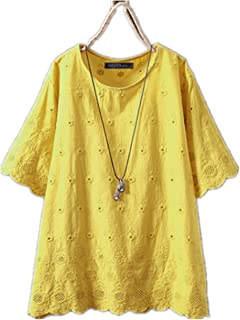TT WARE Women Short Sleeve Lace Patchwork Hollow Blouse-Yellow-6