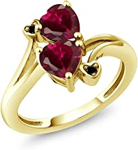 Gem Stone King 10K Yellow Gold Red Created Ruby Women Heart Shape Ring (1.96 Cttw, Available in size 5, 6, 7, 8, 9)