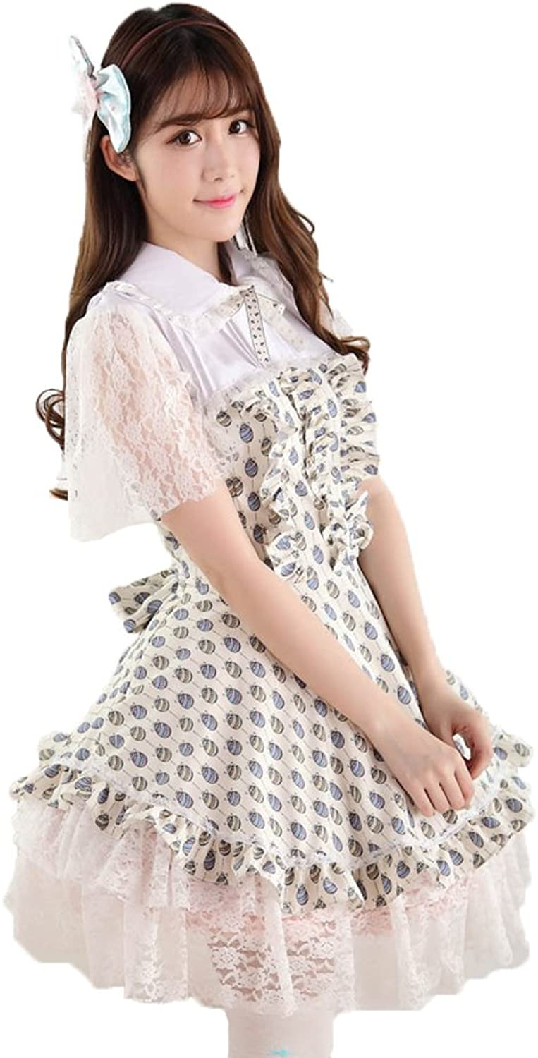 Ainclu Women's Light Yellow Polyester Lace Fly Sleeve Ladylike Easter Princess Lolita Dress