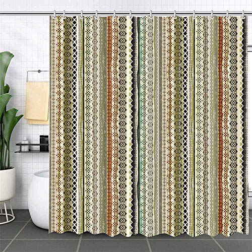 MEHOFOND Bohemian Striped Shower Curtain Boho Colorful Waterproof Polyester Cloth Bath Curtains Sets for Bathroom Decoration with 12 Hooks 72x72 Inches