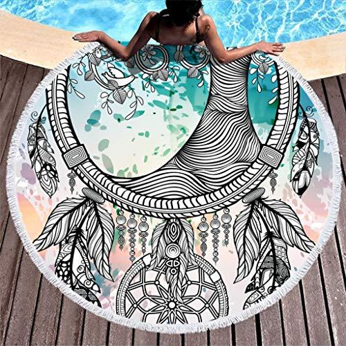 Wecrayon Atrapasueños Árbol de la Vida Toalla de Playa Grande Redonda Toalla de Playa De secado rápido Toalla de playa Toalla de Playa Manta de yoga Toalla de viaje para dos personas, blanco, 150 cm
