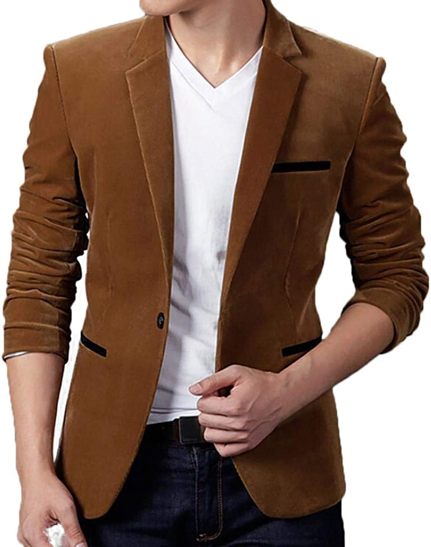 NREALY Blusa Men's Fall Winter Casual Corduroy Slim Long Sleeve Coat Suit Jacket Blazer Top