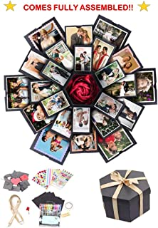 Explosion Gift Box, Fully Assembled Exploding Surprise Love Box for Couples, Sentimental Gift for Boyfriend, Girlfriend, Birthday, Wedding, Anniversary, Scrapbook Style DIY Photo Album, Memory Box