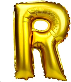 Glanzzeit 16 Inch Gold Balloons Decor Letters A to Z Numbers 0 to 9 for Wedding Prom Birthday Party (Letter R)