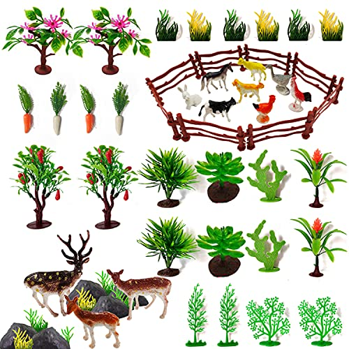 50 PCS Farm Animal Cake Topper Mini Farm Animal Figures Toys Sets with Colorful Plastic Trees Fence rock for Kids Children Toddlers