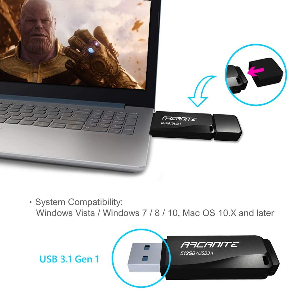 ARCANITE 512GB USB 3.1 Flash Drive Optimal Read speeds up to 400 MB//s Write speeds up to 200 MB//s