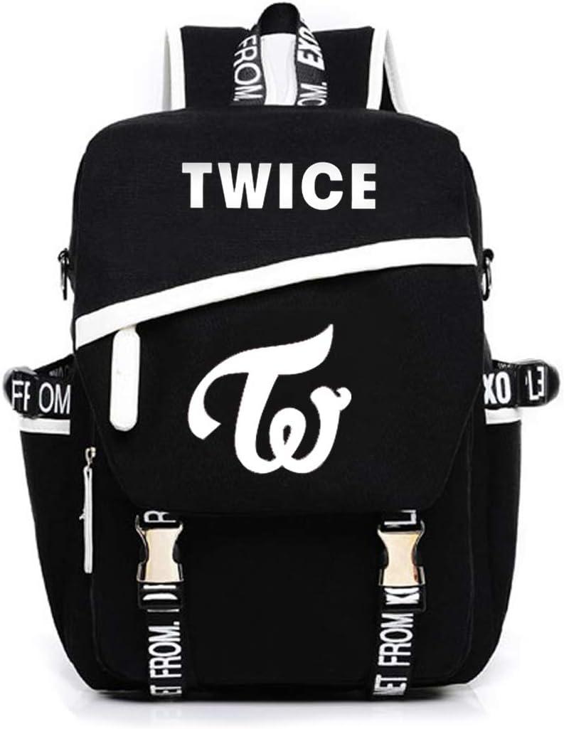 Kpop Twice Canvas School Backpack Laptop with USB Headphone Hole Sana Momo Tzuyu