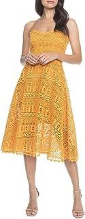 Dress the Population womens BRENNA SLEEVELESS LACE FIT & FLARE MIDI DRESS Dress