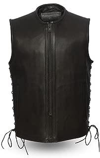 First Mfg Co Platinum Series Men's Leather Vest (Black, Medium)