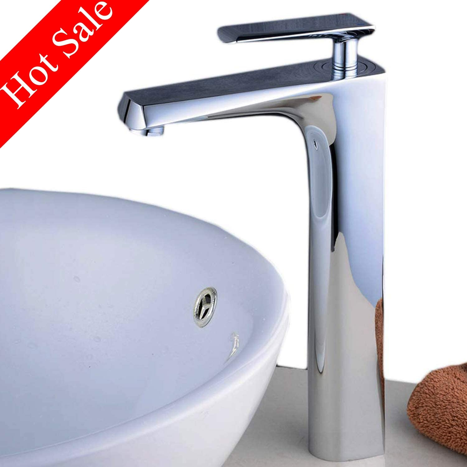 Tall Modern Bathroom Basin Mixer Taps Cabinet Sink Faucet Single Handle One Hole Chrome Taps
