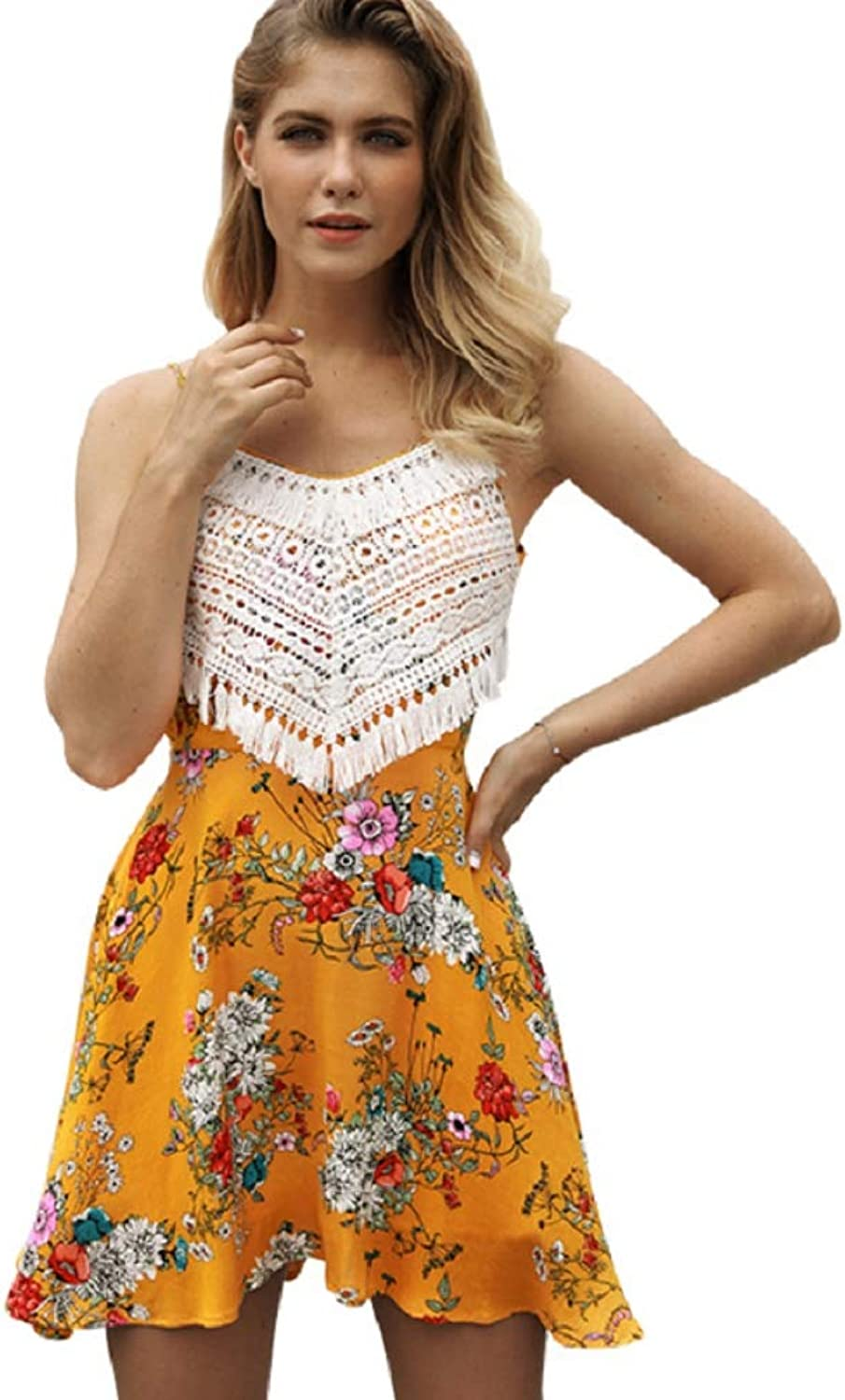 Women's V Collar Back Sling Sleeveless Beach Holiday Party Floral Dress
