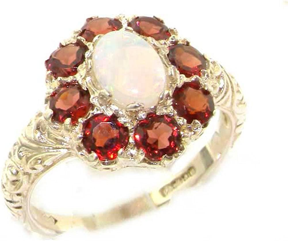 Solid 14k White Gold Natural Opal, Garnet Womens Cluster Ring - Sizes 4 to 12 Available