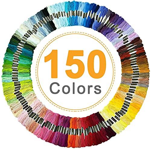 Hilos Punto de Cruz, Vibeey Hilos para Bordar 150 Colores Hilo para Pulseras Madejas de Hilos, Hilo de Bordar de Algodón para Tejido de Punto de Cruz, Hilo de Pulsera, Kit de Hilo de Bordado