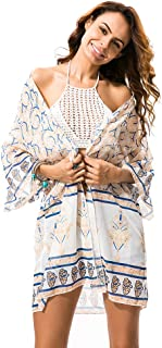 Joygown Women's Floral Print Sheer Chiffon Loose Kimono Cardigan Capes